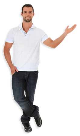 man with hand out, pointing
